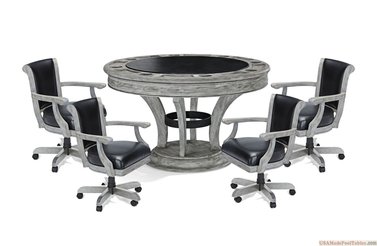 Poker Table Set Rustic Grey