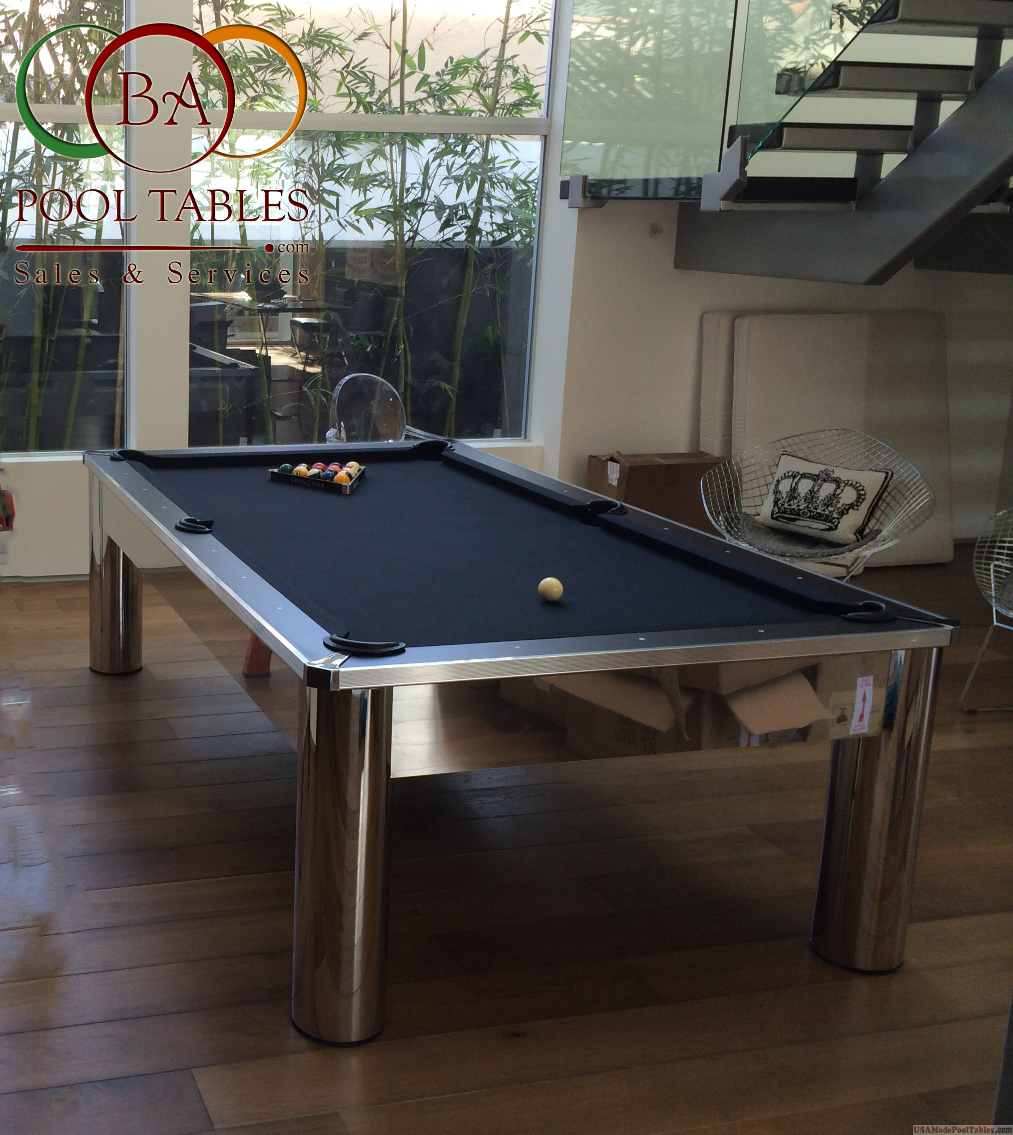 CONTEMPORARY POOL TABLES MODERN POOL TABLES COSMOPOLITAN - Chrome pool table