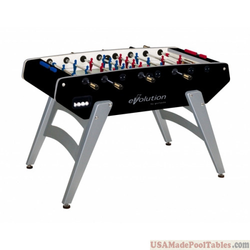 BLACK AND SILVER FOOSBALL TABLE