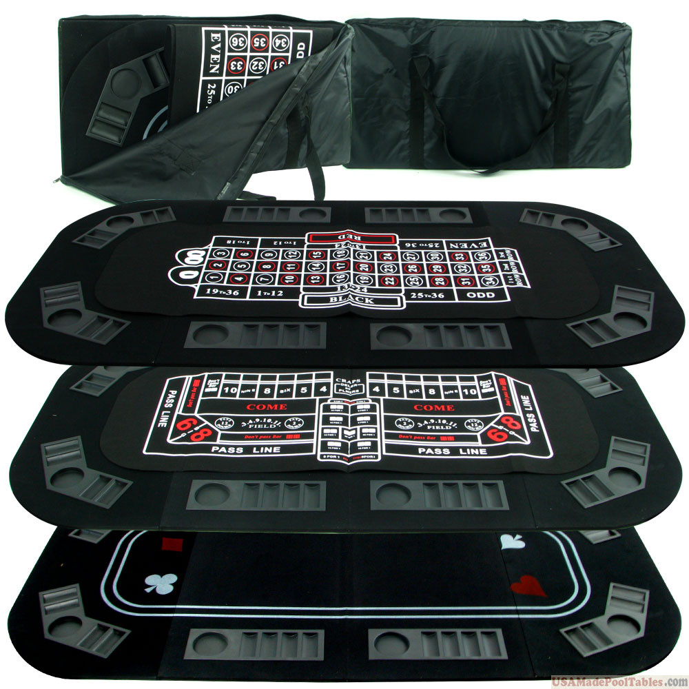 Poker, Black jack and Crap 3 in 1 Folding Texas Hold'em Poker Table Top