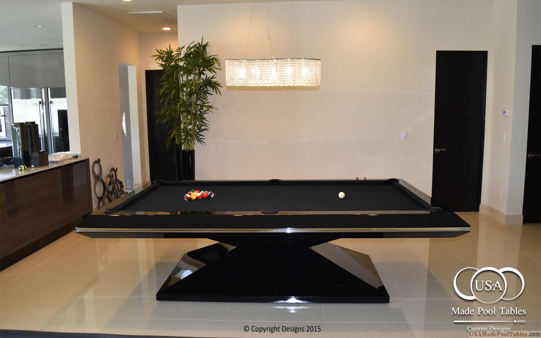 CUSTOM POOL TABLES BLACK GLOSSY