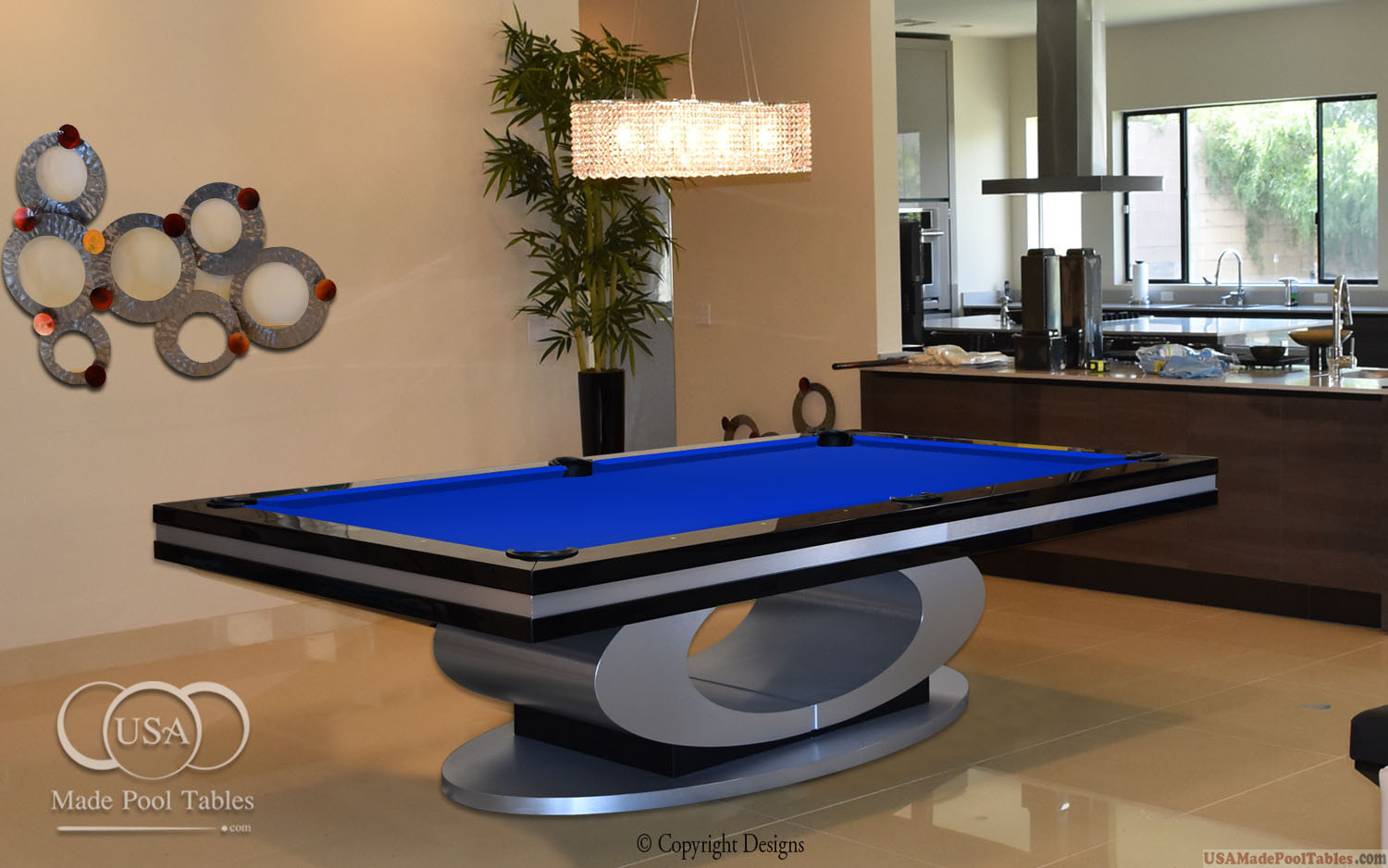 OVAL CUSTOM POOL TABLE BLACK