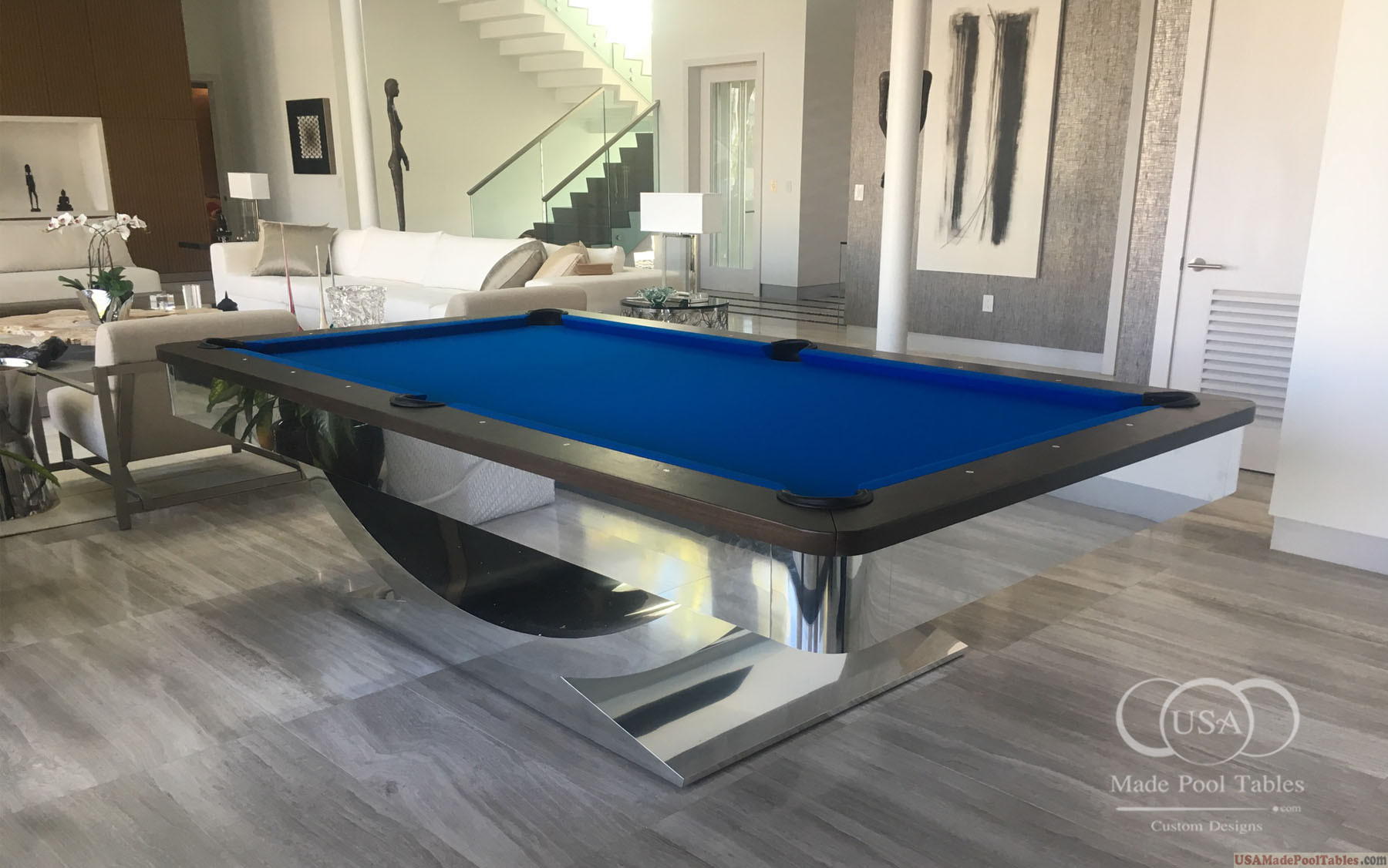 CONTEMPORARY POOL TABLES MODERN POOL TABLES CUSTOM POOL TABLES - Chrome pool table