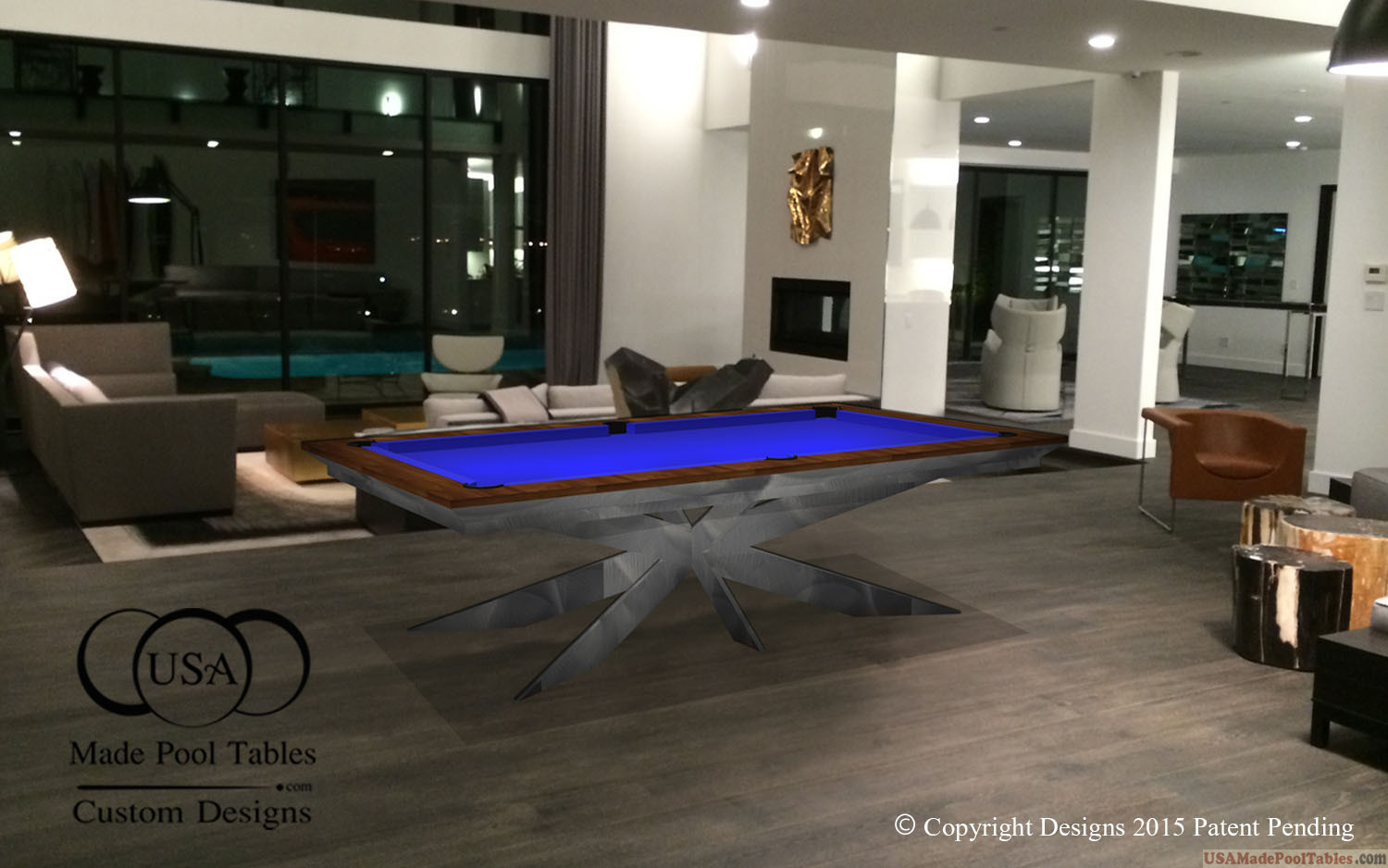 Steel Star Custom Modern Pool Table Designs